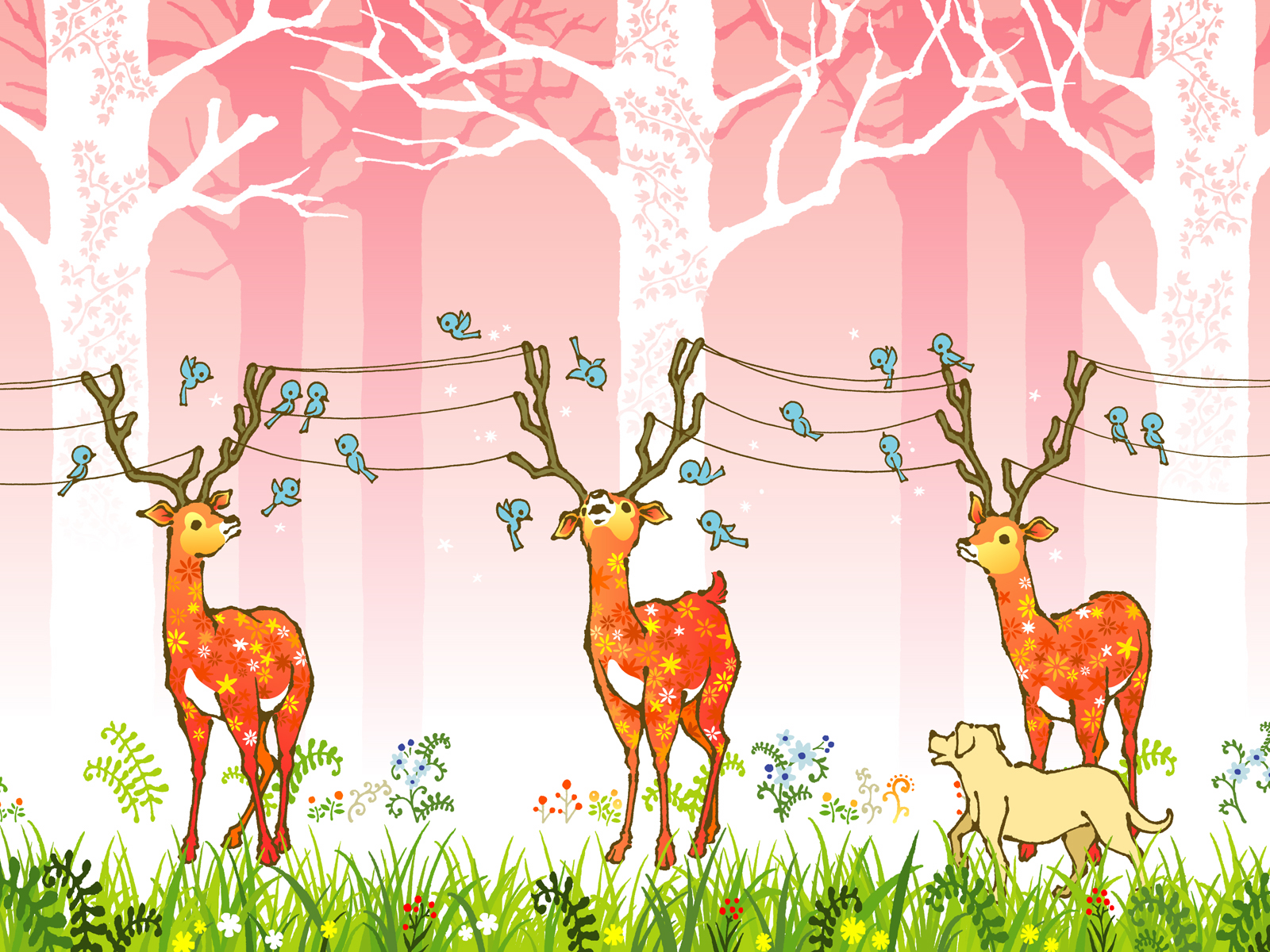 バンビの可愛いイラスト壁紙   ramica